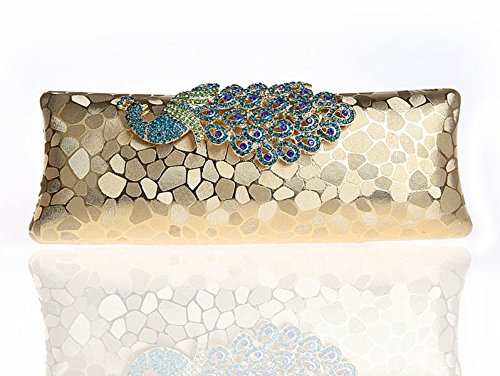 VMATE Antique Beaded Shining Sequin Peacock Clutch Evening Hand Bag Purse Rhinestone Shoulder Straps