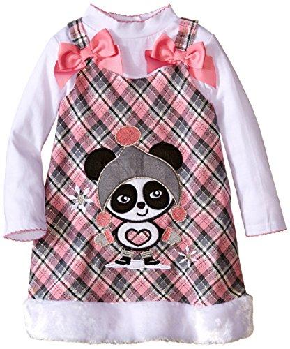 Youngland Little Girls' 2 Piece Jumper Set Plaid Panda Applique Jumper and Long Sleeve Knit Tee, Pink/Grey, 4 (Plaid 2 Jumpers Girls)
