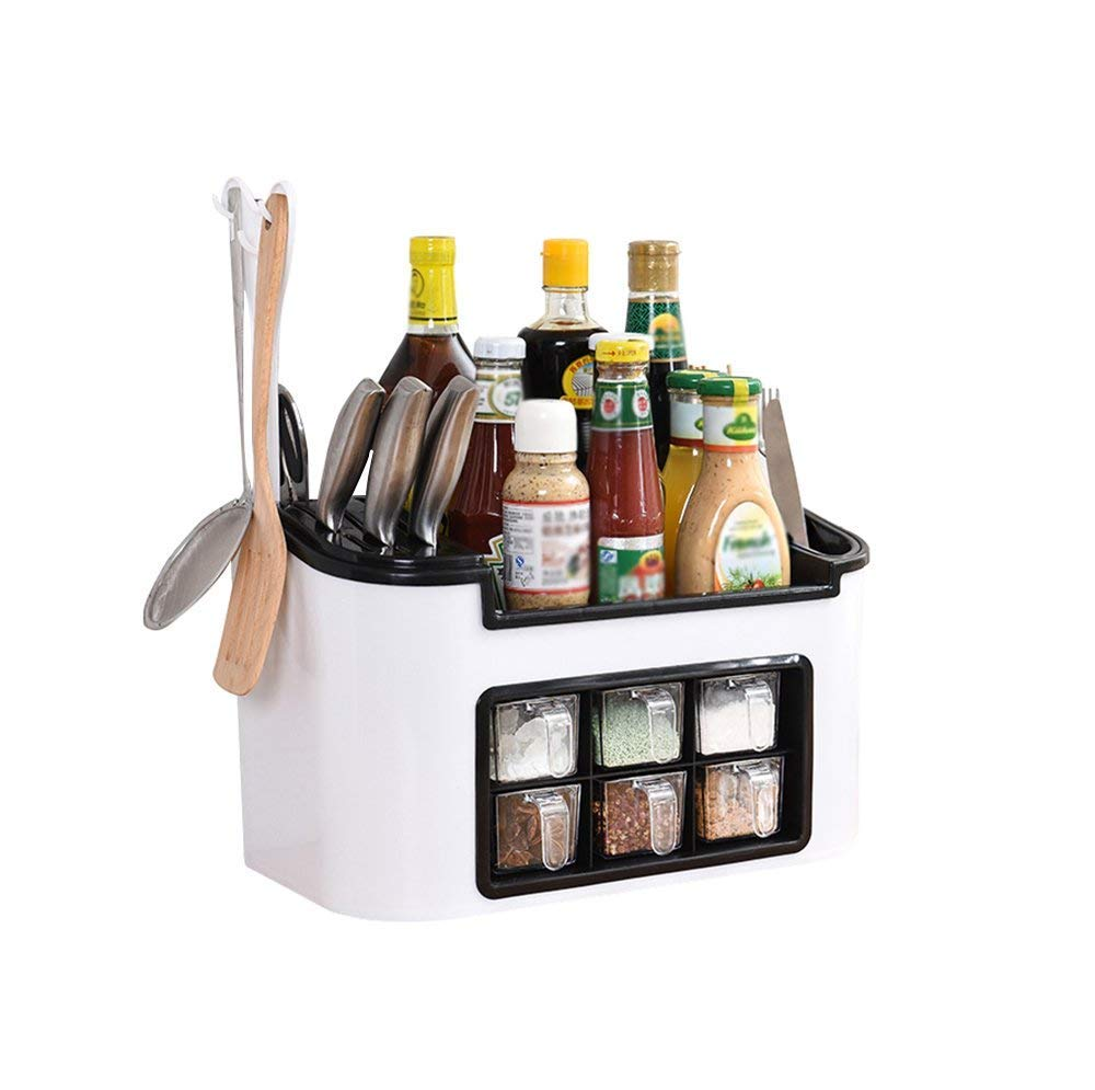 B&T Multifunctional Seasoning Box Kitchen Tool Storage Box Condiment Storage Shelf Tool Rack (White)