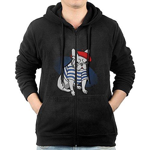 Marcel2 Men's FRENCH BULLDOG Full Zip Hoodies Sweatshirt Jacket Size XXL US Black