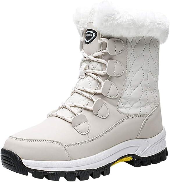 Logobeing Botas de Mujer Botas de Nieve Antideslizante Impermeable Mantener Caliente Tobillo Plataforma Cordones Zapatos Casuales Zapatos de Mujer Sneakers