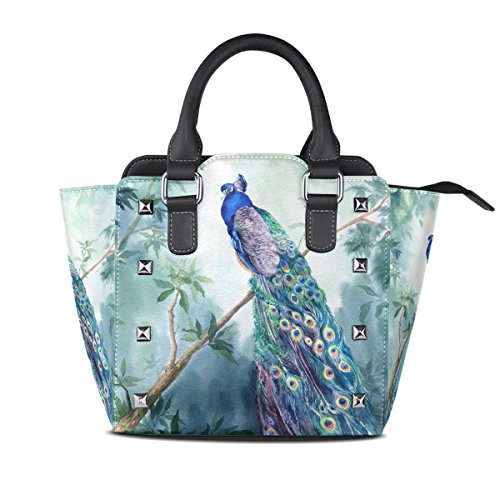 Jennifer PU Leather Top-Handle Handbags Watercolor Peacock Bird Paradise Single-Shoulder Tote Crossbody Bag Messenger Bags For (Bird Of Paradise Tote)