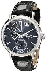 Rotary Men's gs90085/05 Analog Display Swiss Quartz Black Watch