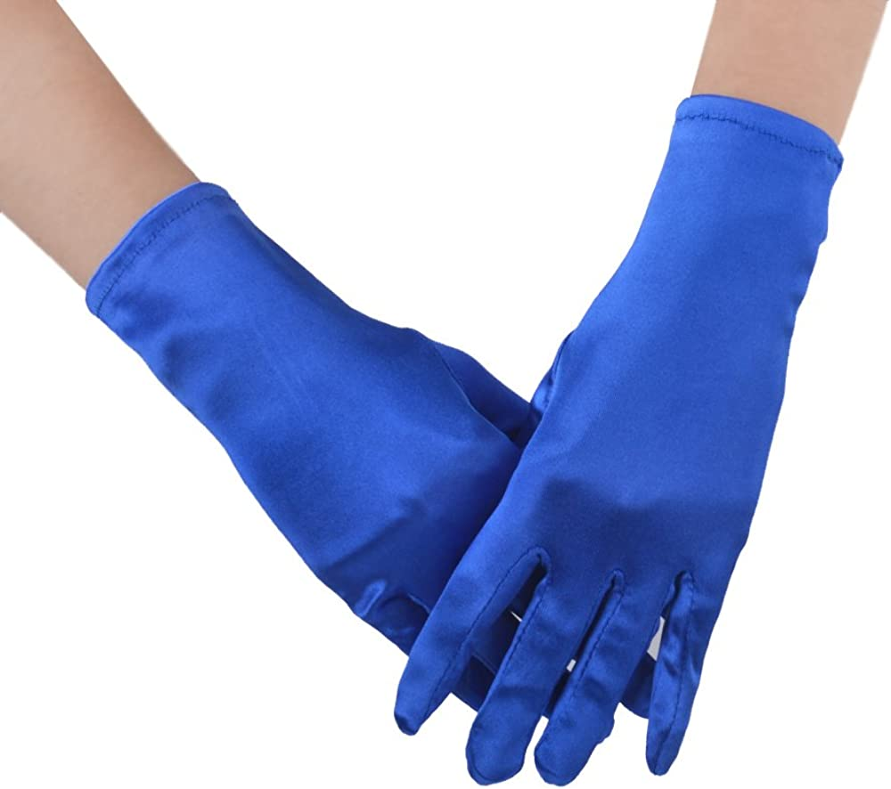 JISEN Women 20s Formal Bridal Satin Banquet Party Wedding Opera Colorful Gloves 9 Inch Blue