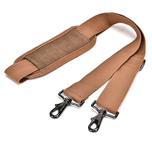 (CoolBELL Adjustable Shoulder strap Luggage Belt With Metal Hooks for Bags/briefcase/Messenger Bag/Duffel (Canvas Dark Coffee))