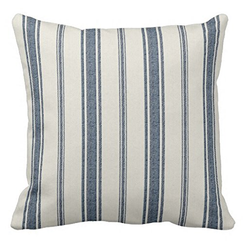 Pillow Case Covers with Zipper Square Canvas Blue and White French Jacquard Stripe Accent Pillow Sham for Sofa 18 x 18