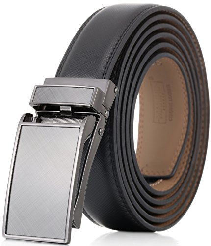 Designer Style Belt Buckle (Marino Men's Genuine Leather Ratchet Dress Belt with Linxx Buckle, Enclosed in an Elegant Gift Box - Gunblack Silver Matte Design Buckle with Black Leather - Custom XL: Up to)