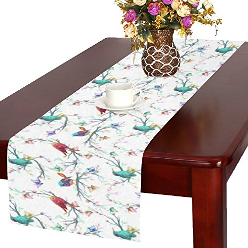 INTERESTPRINT Vintage Pattern with Bird Butterfly Flower Polyester Long Table Runner 16 X 72 Inches, Leaf Branch Rectangle Table Cloth Placemat for Office Kitchen Wedding Party Home Decor