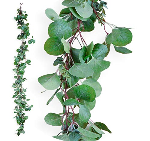 6 Feet Artificial Silver Dollar Eucalyptus Garland Fake Leaves, Faux Greenery Garlands for Wedding Table Decorations, Green Leaf Vine, Ivy Hanging Decoration, Wedding Back Drop Vines by N&J Solutions - Garland Wedding Decoration