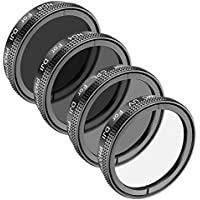 Neewer Multi-coated 4 Pieces Lens Filter Kit for DJI Phantom 4, DJI Phantom 3 Standard Advanced and Professional, Made of High Definition Glass and Aluminum Frame, Includes: UV, Polarizer CPL, ND4,ND8