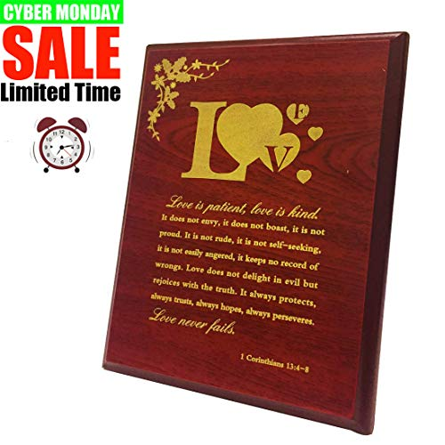 SIGMALL Love Sign Home Decor, Love is Patient Love is Kind Plaque,Table Decor Wooden Wall Table Art, Inspirational Quote Saying, Wedding Prayer, Family, Love, Marriage, Scripture