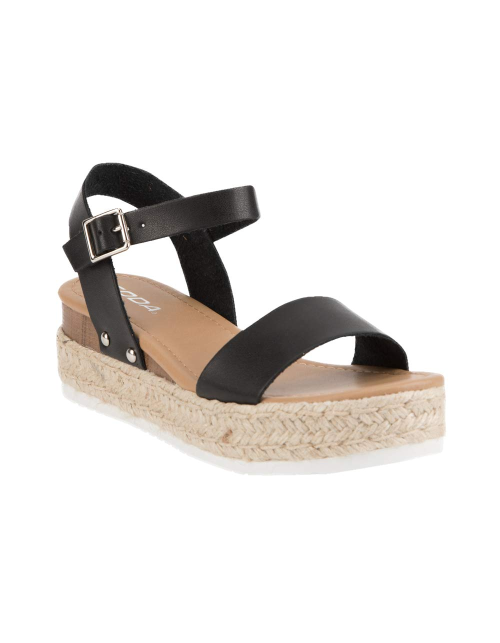 SODA Clip Tan Espadrille Flatform Sandals (5.5 M US, Black)