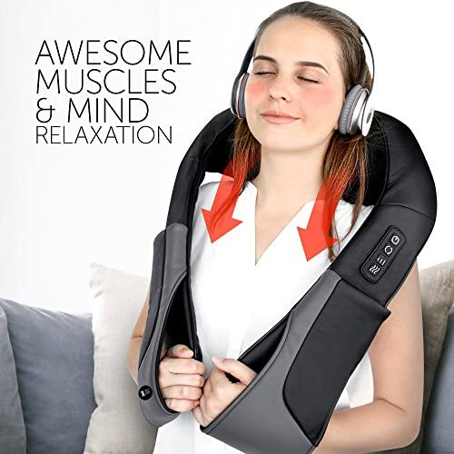 Dr. Anna Luxury Shiatsu Neck Shoulder Back Massager with Heat For Back Pain Relief – Portable 3D Rotation Kneading Massage Pillow – Back Massager Belt – Full Body Massager