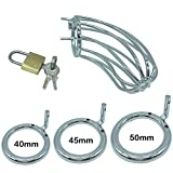 All 3Size Metal Steel Chasti-ty Devices Male Briefs Anti-Off Silver 03