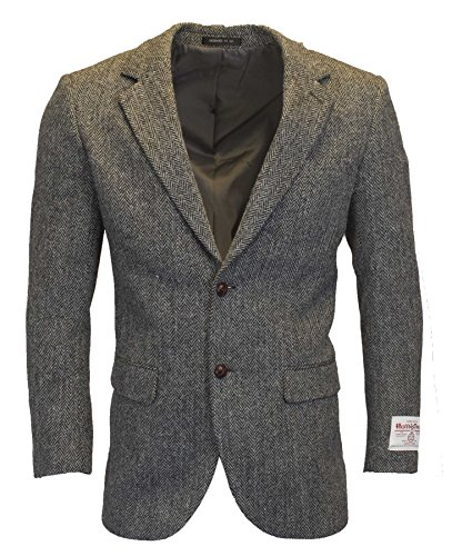 Walker and Hawkes Mens Classic Scottish Harris Tweed Herringbone Country Blazer Jacket - Steel Gray - 40 (Harris Tweed Coat)