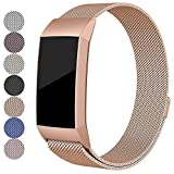 FitTurn for Fitbit Charge 3 Bands Milanese Loop Stainless Steel Metal Replacement Strap with Unique Magnet Lock Charge 3 Sport Band Straps Wristband for Charge 3 Bands Special Edition Activity Tracker Women Men