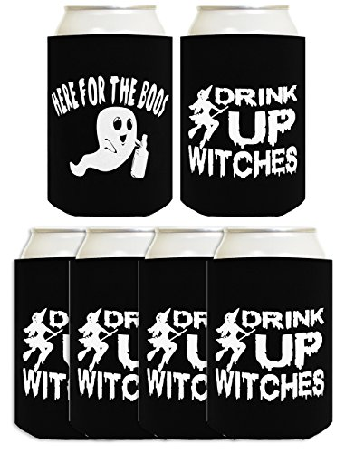 Drink Up Witches I'm Here For the Boos Halloween 6 Pack Can Coolies Black]()