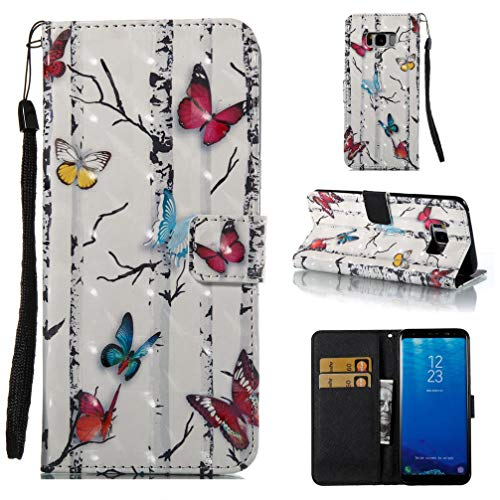 Case for Galaxy S8 Plus,3D Printing Pu-Leather Kickstand Wallet Case Inner Soft TPU Bumper with Magnetic Closure Card Holder Wrist Strap Compatible with Samsung Galaxy S8 Plus -Butterflies -