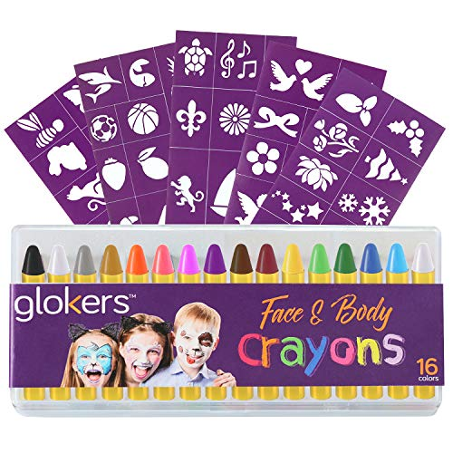 Glokers 16-Piece Face and Body Crayons | Non-Toxic, Hypoallergenic Washable Paint Sticks | Sweat Proof Painting Markers for Children and Adult Costume Parties, Halloween, Christmas | Bonus 50 Stencils ()