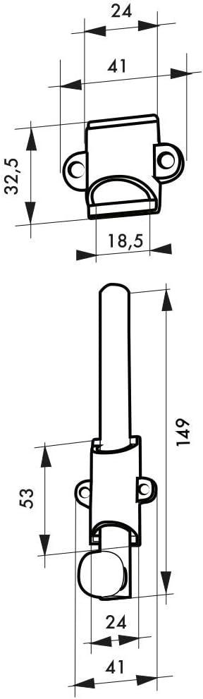 Verrou /à plaquer 150 mm Thirard