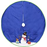 Dyno 48'' Blue Felt Christmas Snowman Winter Tree Skirt with Bright Green Trim