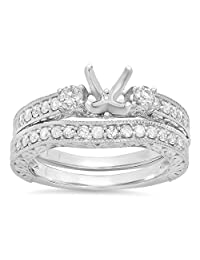 0.75 Carat (ctw) 14K White Gold Round Diamond Ladies Bridal Engagement Ring Semi Mount Set