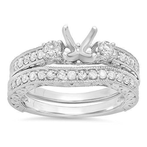 0.75 Carat (ctw) 14K White Gold Round Diamond Ladies Bridal Semi Mount Ring Set (Size 6.5)