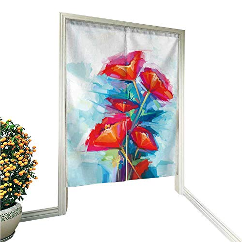 vanfan Noren Doorway Curtain Tapestry Oil Paint of SPR Flower Still Life of Pink and red Home Decoration Tapestry for 36