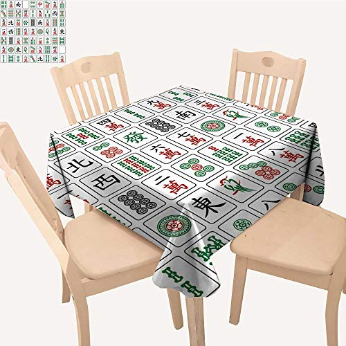 (UHOO2018 Fitted Polyester Tablecloth  Mahjong Tiles on White backgroun Square/Rectangle Washable for Tablecloth,52x 53 inch)