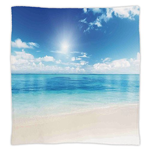 - Super Soft Throw Blanket Custom Design Cozy Fleece Blanket,Ocean,Golden Beach View from Caribbean Sea in a Sunny Day Exotic Summer Image Print,Cream Turquoise White,Perfect for Couch Sofa or Bed