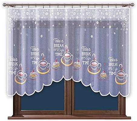 Promag Modern Scheibengardine Bistrogardine Küchengardine Gardinen mit  Kräuselband für Kuche Kurz HxB 120 x 220 cm - Hergestellt in EU - Öko Tex  ...