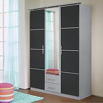 Kleiderschrank grau metallic / alu 3 Türen B 136 cm Schrank ...