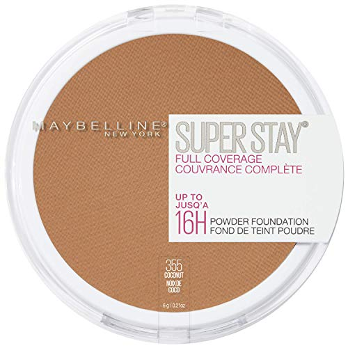 Maybelline New York Super Stay Full Coverage Powder Foundation Makeup Matte Finish, Coconut, 0.18 Ounce