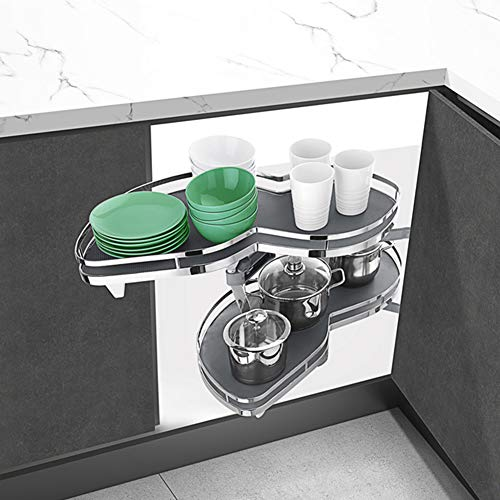 (SPACEKEEPER Kitchen Cabinet Blind Corner Swing Out Pullout Organizer, 2 Tiers Swing Tray, Soft Close, Left Handed Open)