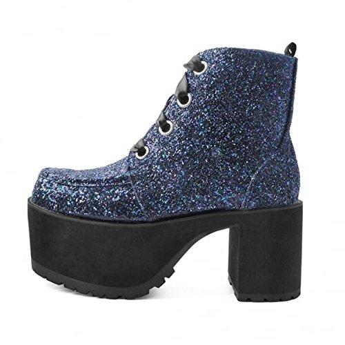 Scarpone Glitter T K Occhio Donna Nero 4 U da Gioielli Shoes nosebleed 88AxBpq