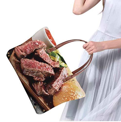 Custom Handbag Tote Shopping Bags prime black angus steak burger medium rare degree of steak doneness Printing Tote Purse Crossbody Size:19.2