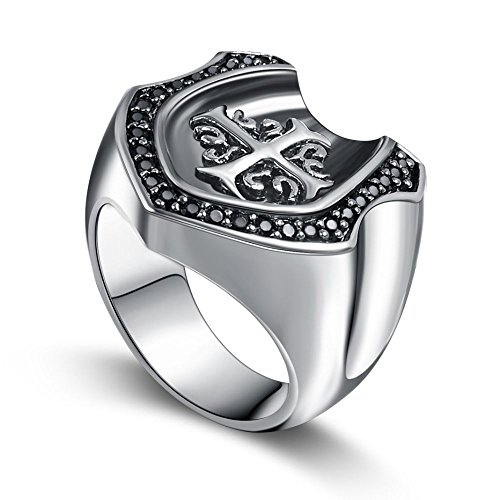 Mens Big Heavy Sterling Silver 925 Horseshoe Ring, Black Fleur De Lis Cross Jewelry, Size 7-14 by (Fleur De Lis Pave Ring)