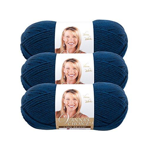 (3 Pack) Lion Brand Yarn 860-118 Lion Vanna's Choice Yarn, Midnight Blue (Midnight Blue Knitting Yarn)