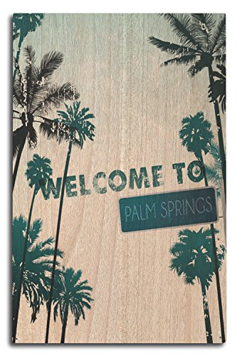 (Palm Springs, California - Street Sign and Palms (10x15 Wood Wall Sign, Wall Decor Ready to Hang))