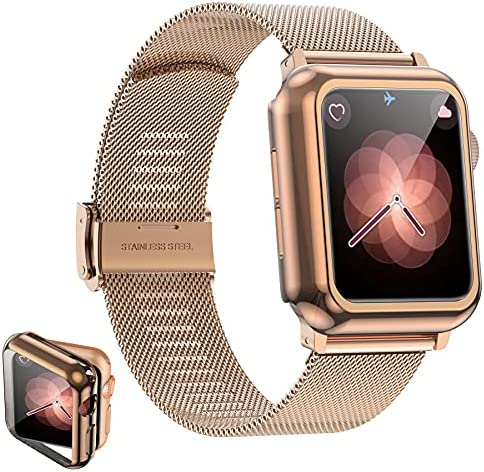 Girovo Compatible with Apple Watch Band 40mm Women Men, Stainless Steel Mesh iWatch Bands with Screen Protector Case Cover Accessories for Apple Watch Bands Series 6/SE/Series 5/Series 4, Gold