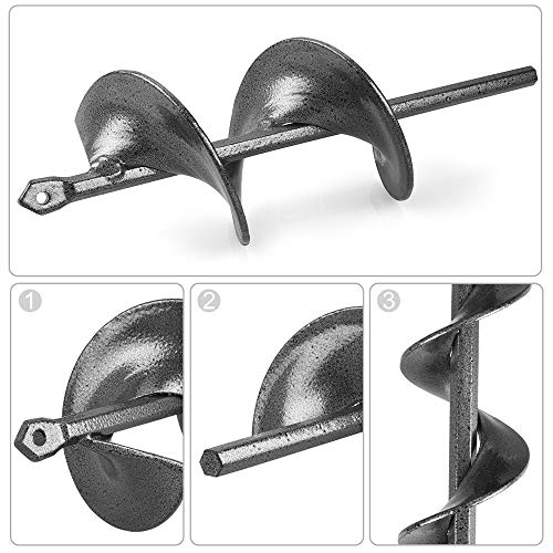 """Auger Drill Bit for Planting Garden Auger Bulb Planter Garden Drill Bit Post Hole Digger 1.6"""" x 9"""" & 3"""" x 9"""" 2-in-1 Set Jucoci Rapid Planter Suitable for 3/8"""" Hex Drive Drill Chucked Drill"""