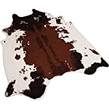 Faux Fur Printed Brown White Cow Hide Area Rug 4.1X4.2 Feet Washable Animal Carpet for Home & Office (antislip cow print)
