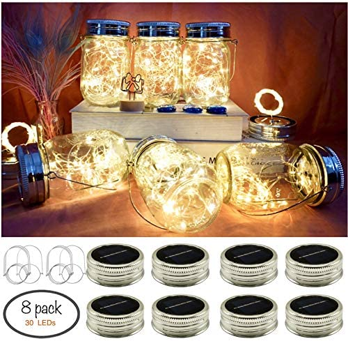 8 Pack 30 Led Hanging Solar Mason Jar Lid String Lights,Warm White Waterproof String Fairy Star Firefly Lights with 8 Hangers Included No Jars ,Great Outdoor Lawn D cor for Patio Garden, Yard,Law