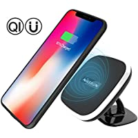 iPhone X Car Wireless Charger, Nillkin Qi Wireless Charger Car Dash Mount + Magnetic TPU Case for iPhone X - 2-in-1 Package