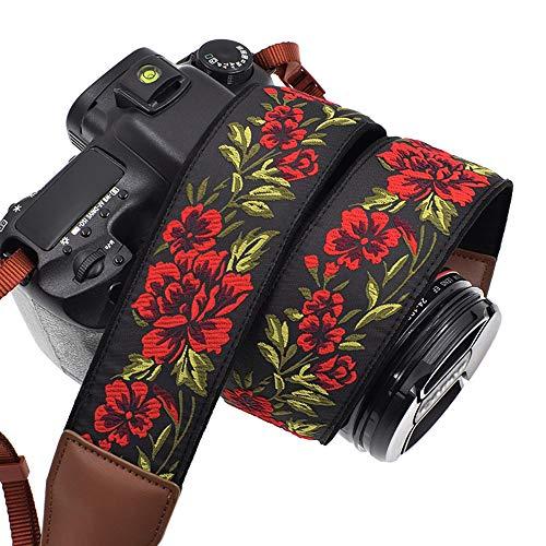 LIFEMATE Camera Strap Shoulder Neck Belt for All SLR/DSLR (Red Rose in Black)