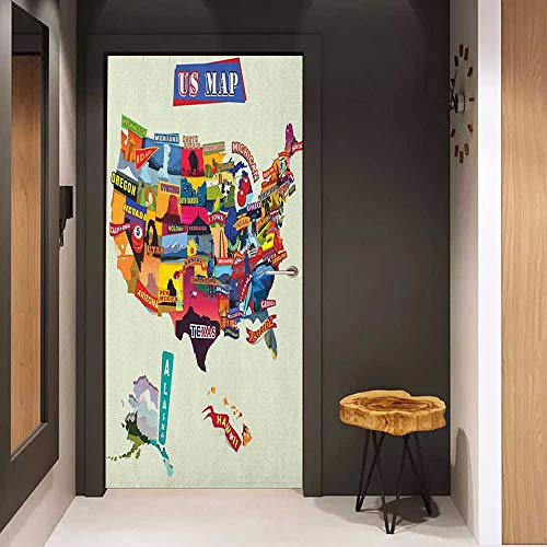 (Door Sticker Wanderlust US Map Seashore and Sunflowers Tourist Attractions Jersey Cow Milk Corn Field Glass Film for Home Office W30 x H80 Multicolor)