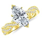 0.53 Cttw 14K Yellow Gold Marquise Cut Vintage Eternity Love Twisting Split Shank Diamond Engagement Ring With Milgrain with a 0.25 Carat H-I Color SI1-SI2 Clarity Center