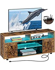 Rolanstar TV Stand with Power Outlet, Farmhouse RGB Light Entertainment Center with Storage Barn Door Cabinets for Living Room Bedroom 55/60/ 65 inch TV, Rustic Brown,47 inches
