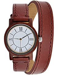 ZLYC women original design handmade classial wooden wrist watch with double cowhide wrap strap