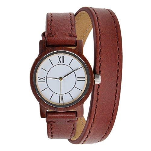 ZLYC women original design handmade classial wooden wrist watch with double cowhide wrap strap